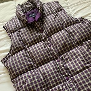 Purple plaid Lands End puffy vest